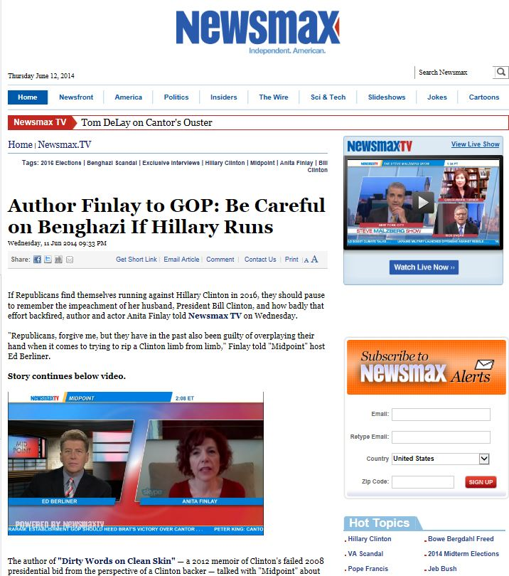 Anita Finlay on Newsmax TV: Hillary, Leadership and the GOP Upset
