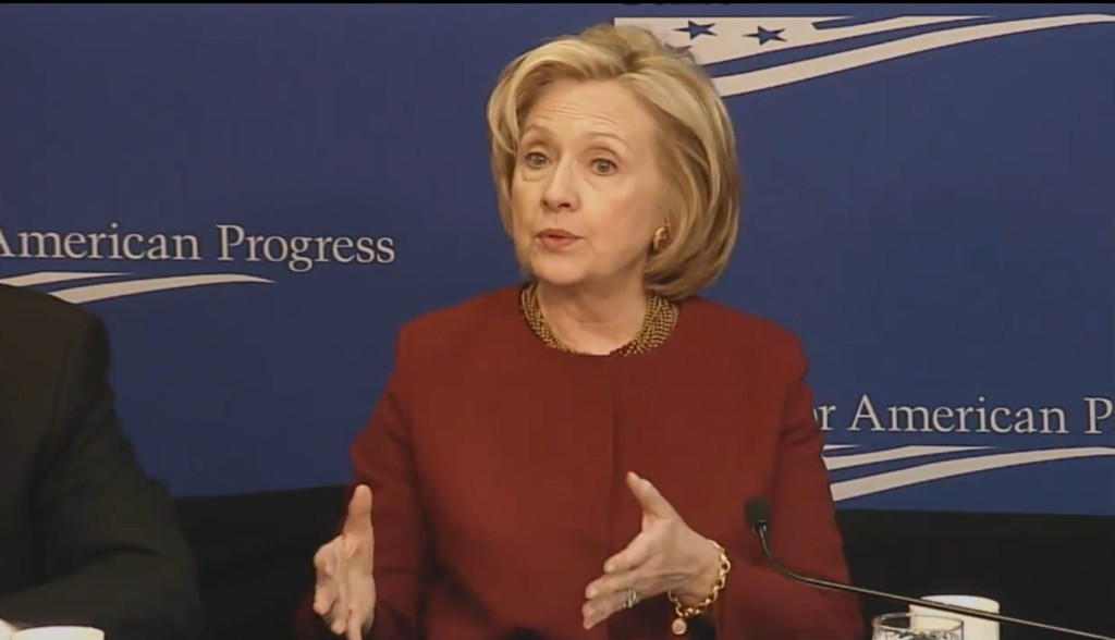 Live screen capture - Hillary Clinton speaking at Center for American Progress
