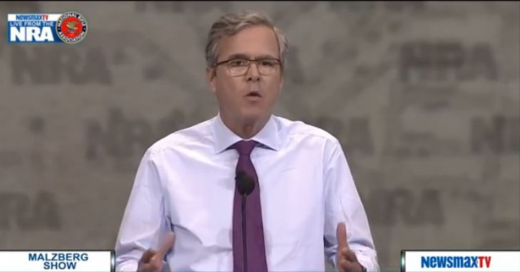 Jeb Bush Speaks at NRA/2015, live video capture, Newsmax feed