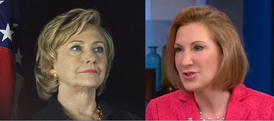 Hillary Clinton photo courtesy Jim Livesay / Carly Fiorina, live video capture