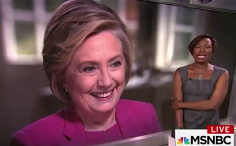 Hillary Clinton as interviewed by Joy Reid on MSNBC