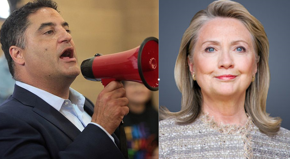 TYT's Cenk Uygur and Sec'y Hillary Clinton (photos labeled for reuse)